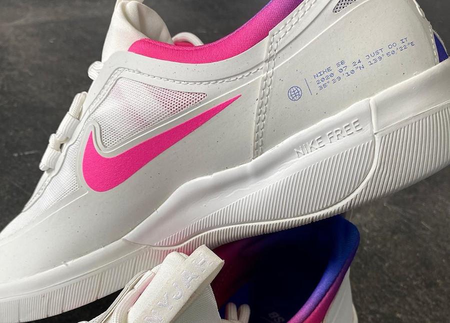 Nike SB Nyjah Free 2 blanche bleu et rose (5)