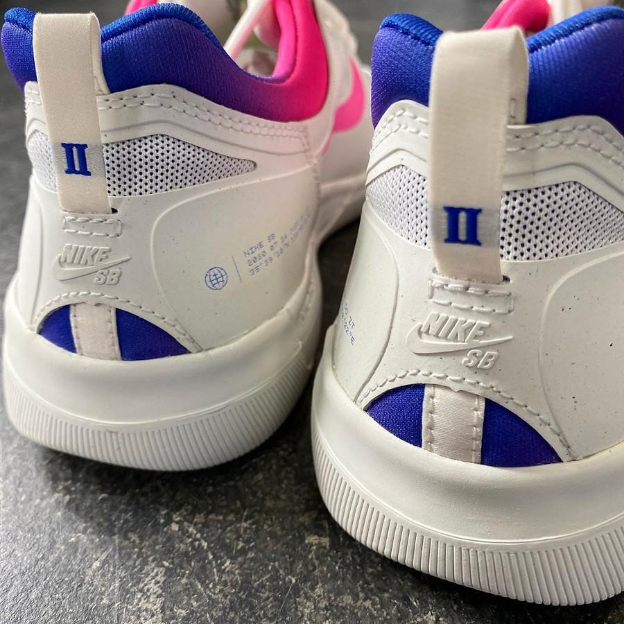 Nike SB Nyjah Free 2 blanche bleu et rose (6)