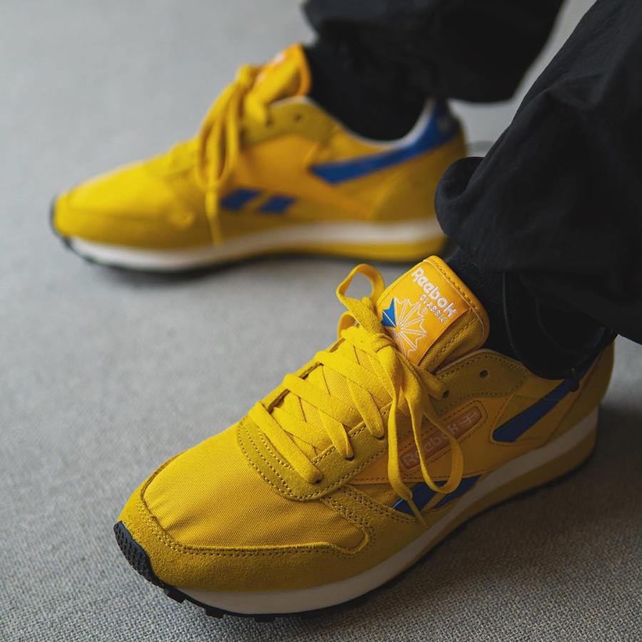 Reebok CL LTHR AZ jaune doré et bleu (2)