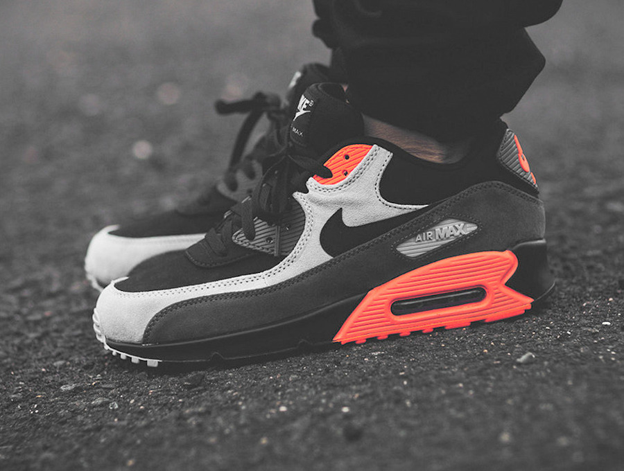 2014 - Nike Air Max 90 Leather Medium Light Ash Grey Total Crimson Infrared - Snipes