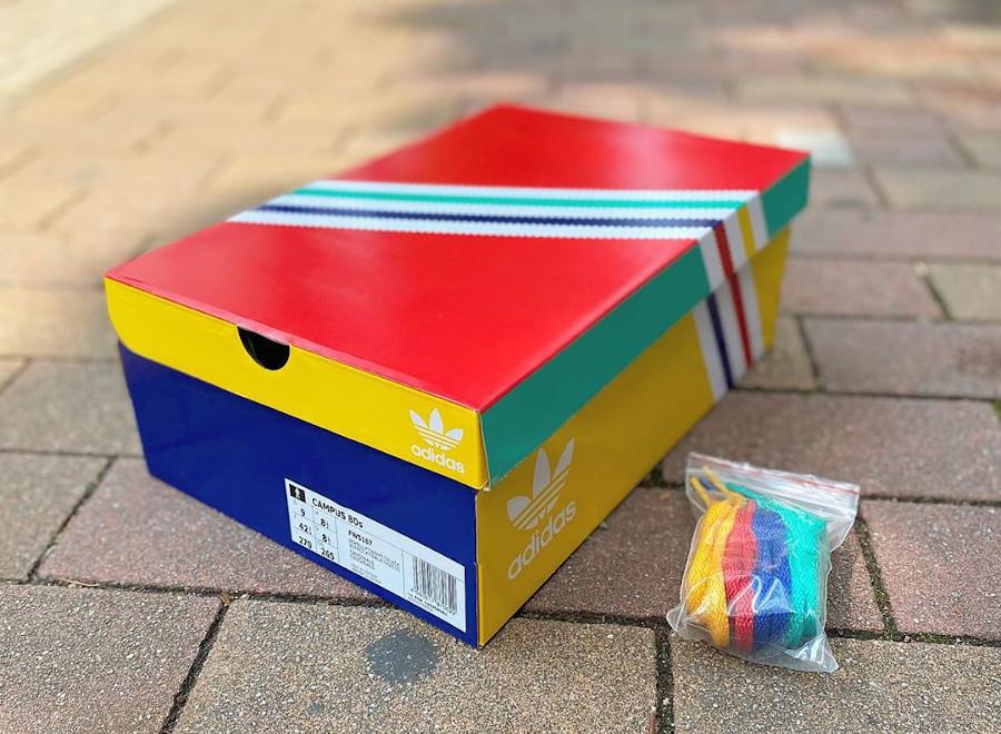 Adidas Campus 80's jaune vert bleu blanche et orange (4)