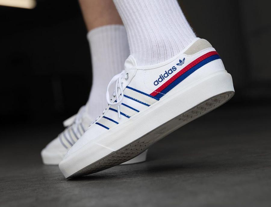 Adidas Delpala blanche rouge et bleu (2)