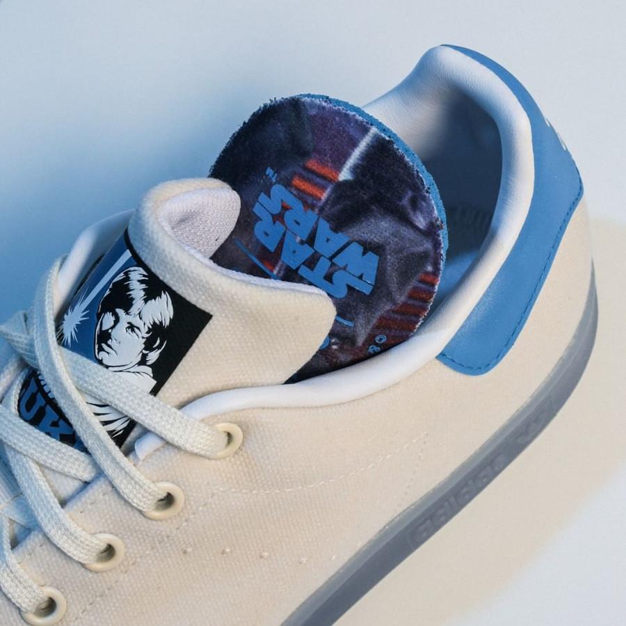 Adidas Stan Smith Luke Skywalker blanc cassé et bleue (5)