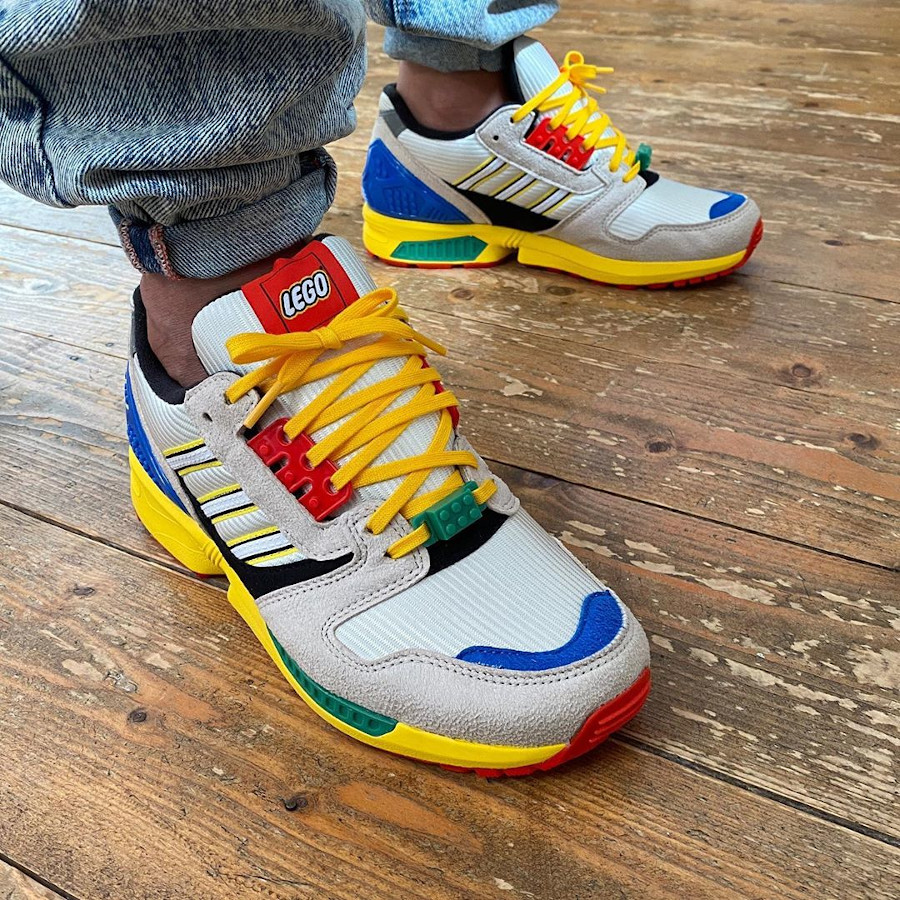 Adidas ZX 8000 AZX Lego Bricks on feet