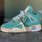 Off White x Air Jordan 4 Sail Neptune Green