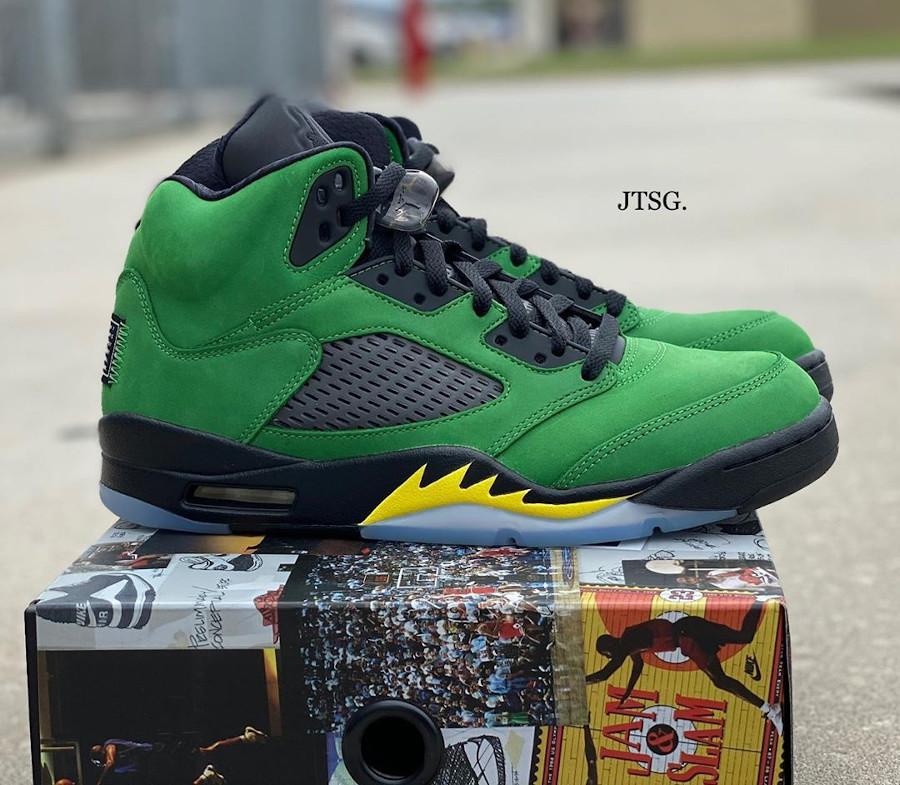 Air Jordan 5 V 2020 en daim vert pomme (1-1)