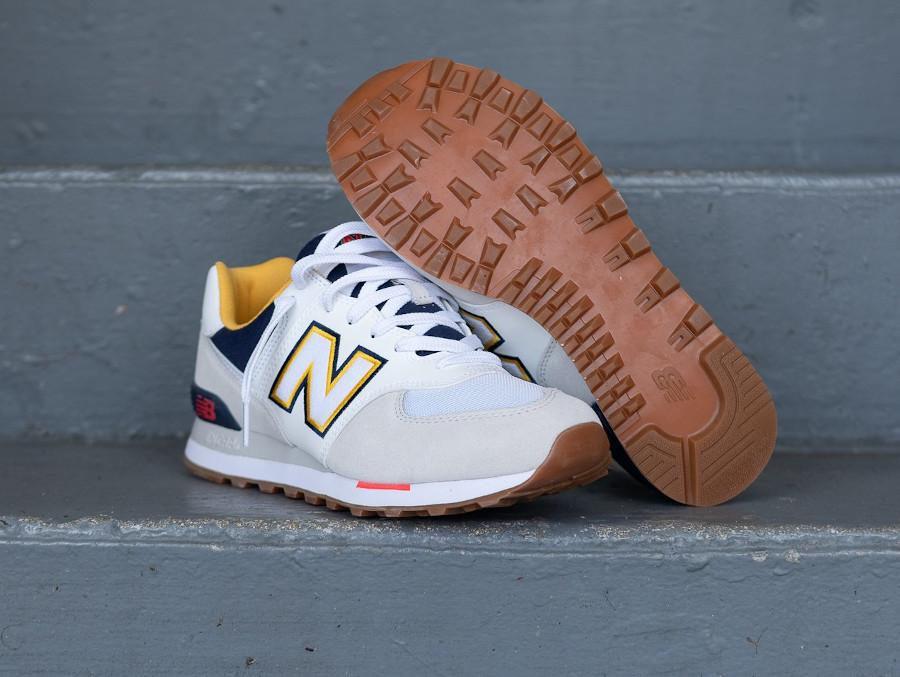New Balance 574 2020 blanche grise et jaune (6)