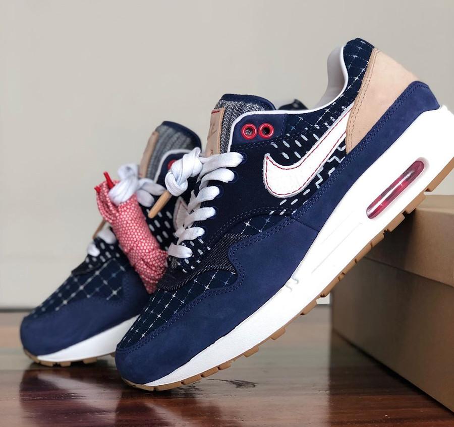 Nike Air Max 1 en jeans japonais bleu foncé (3)