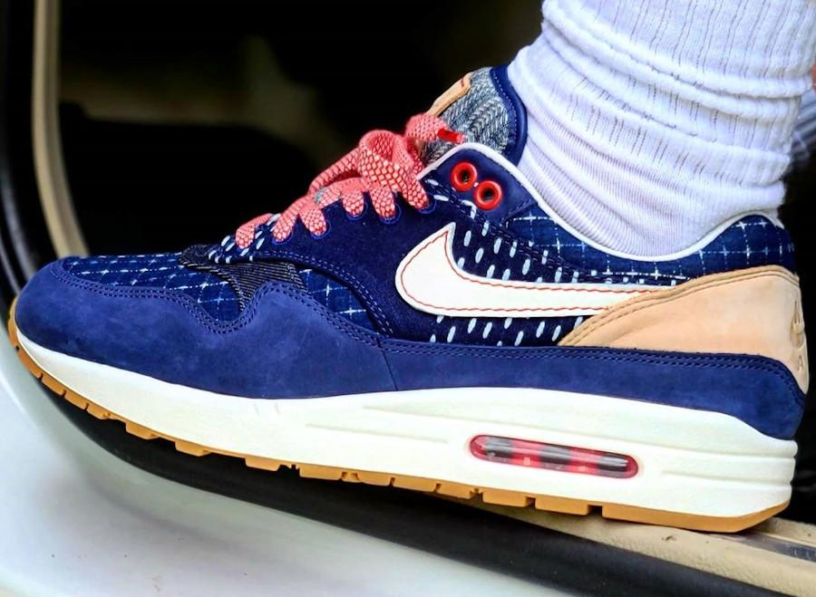 Nike Air Max 1 en jeans japonais bleu foncé on feet (1)