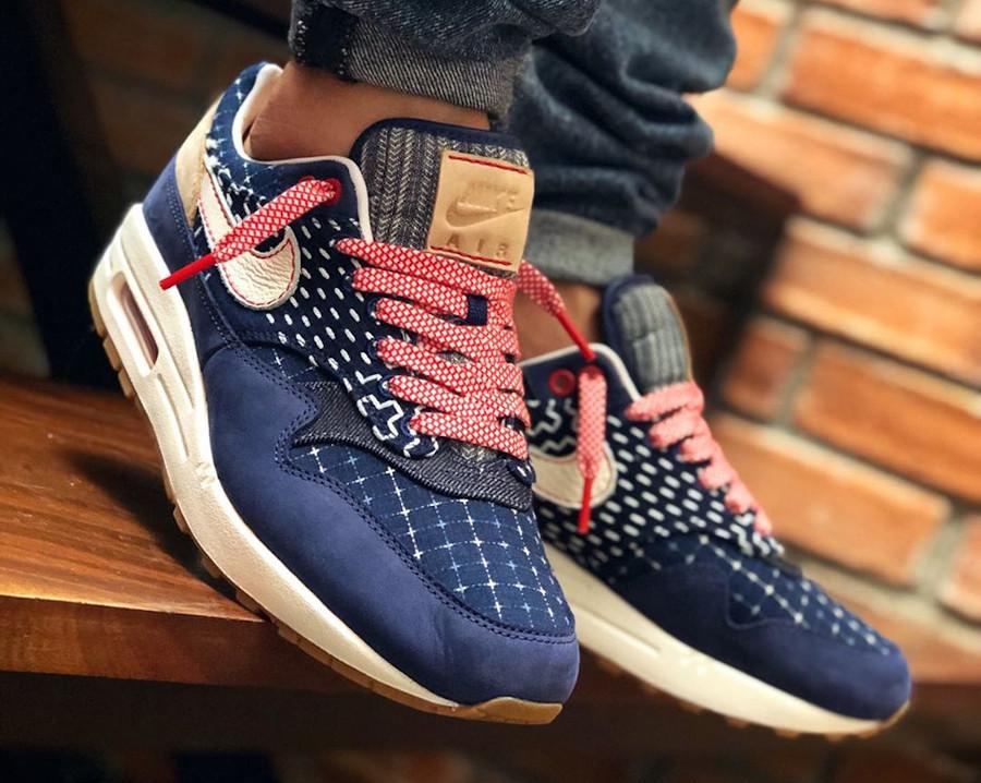 Nike Air Max 1 en jeans japonais bleu foncé on feet (3)