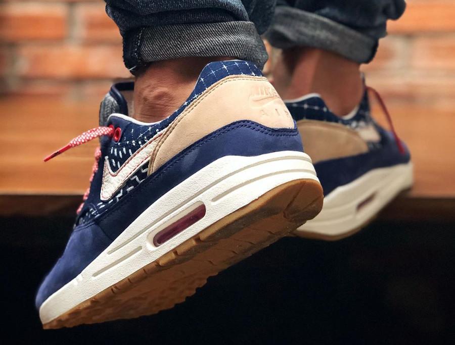 Nike Air Max 1 en jeans japonais bleu foncé on feet (4)