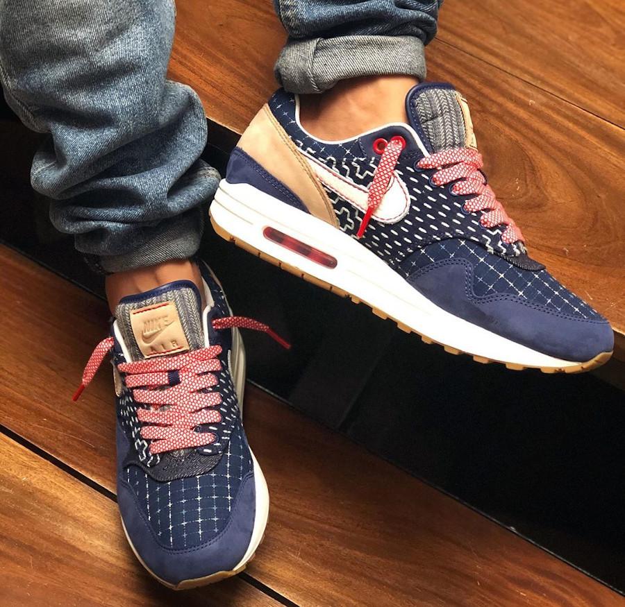 Nike Air Max 1 en jeans japonais bleu foncé on feet (5)