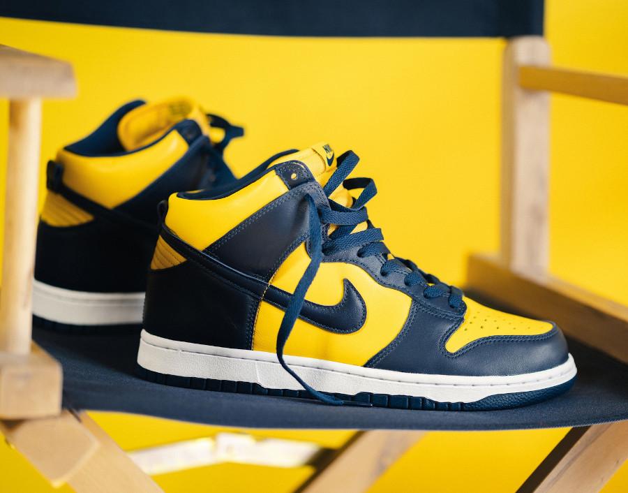 Nike Dunk montante M jaune et bleu foncé (4)