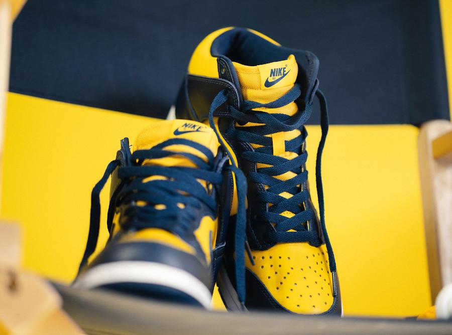 Nike Dunk montante M jaune et bleu foncé (5)