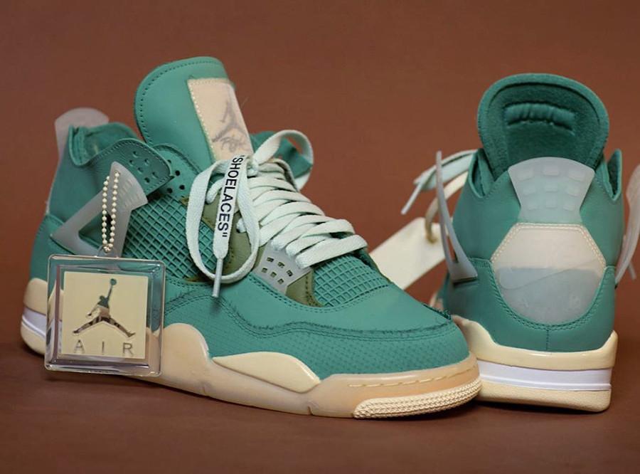 Virgil Abloh x Air Jordan IV blanc cassé vert turquoise (4)
