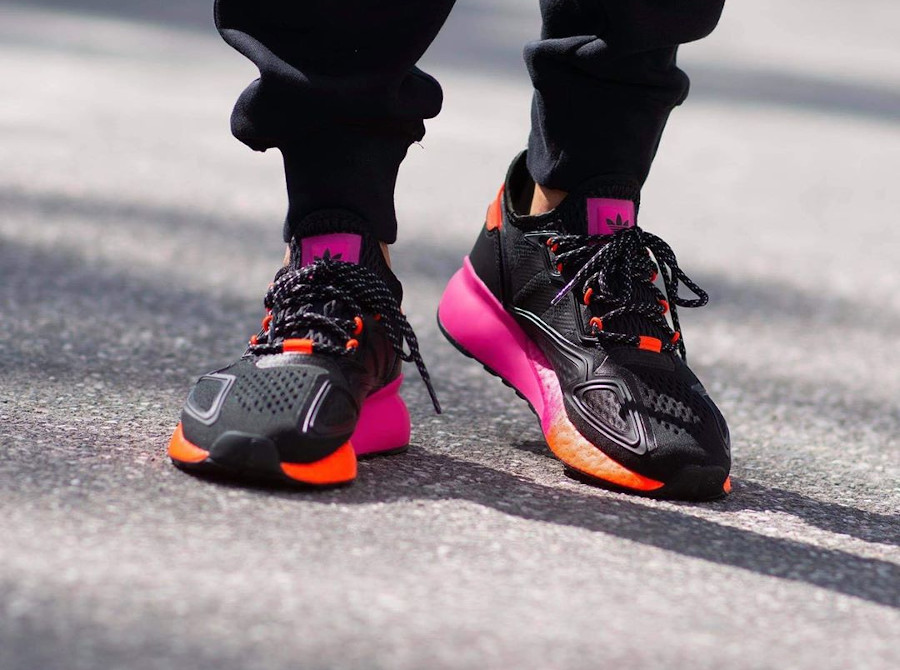 Adidas ZX 2K Boost noire rose et orange (3)