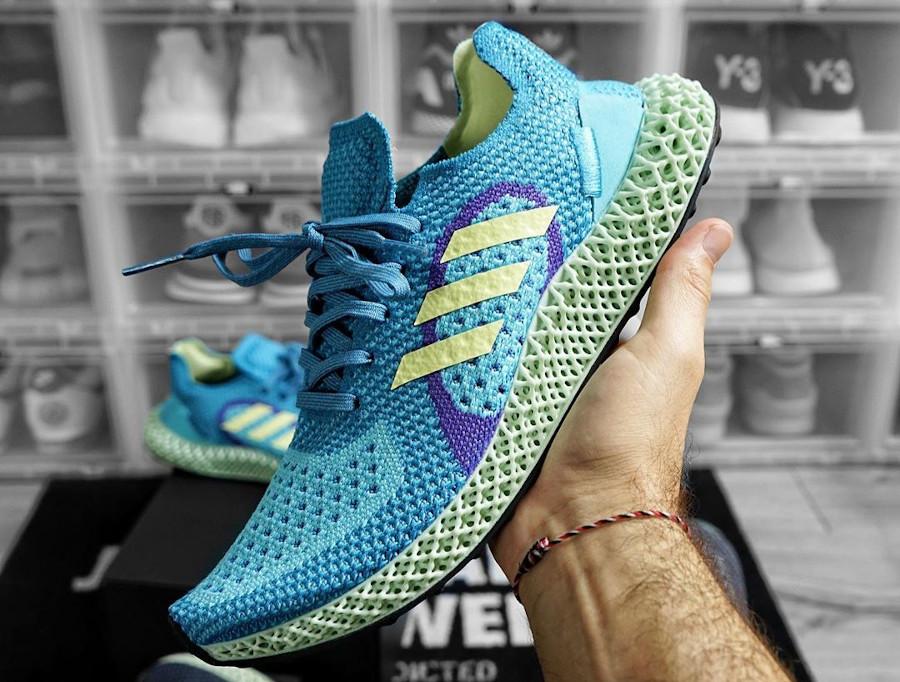Adidas ZX 4D Runner bleu turquoise jaune et violet (4)