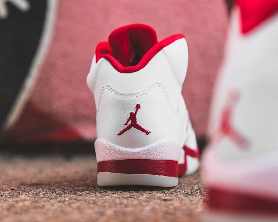 Air Jordan V Retro fille 2020 blanche rose et rouge (2)