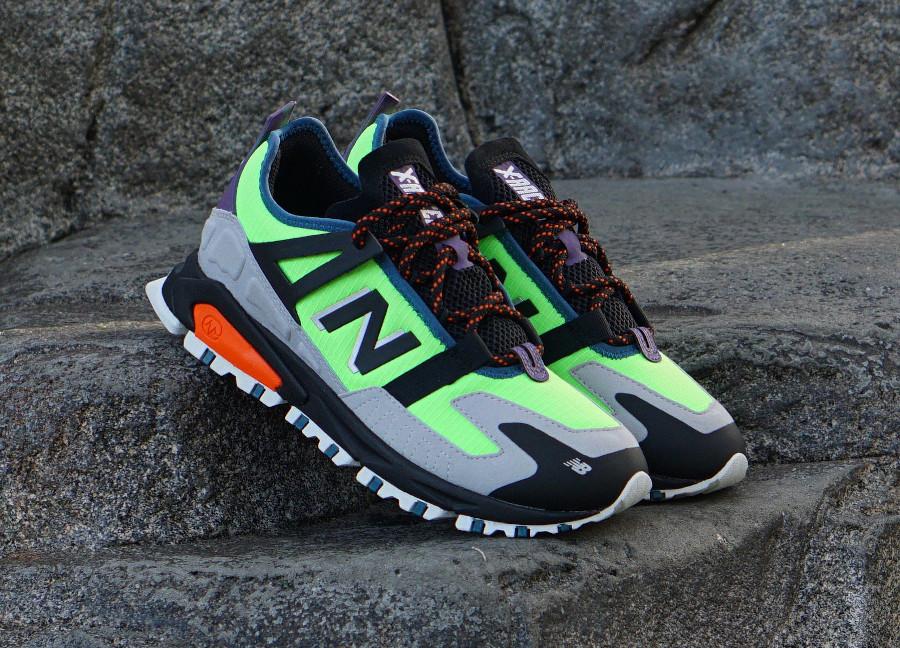 New Balance X-Racer All Terrain Trail vert fluo noir et grise (1)