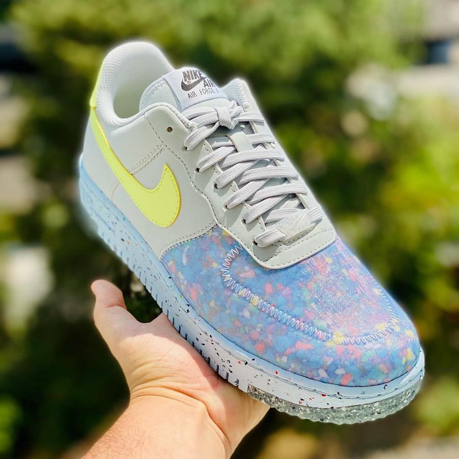 Nike AF-1 recyclée grise bleu et vert fluo (1)