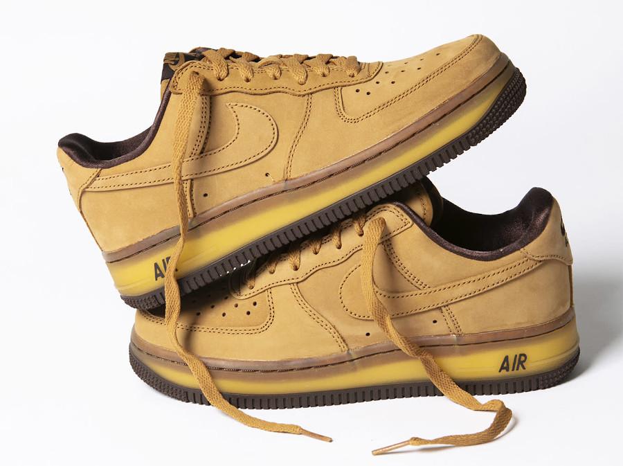 Nike Air Force One en daim marron (semelle transparente) (0)