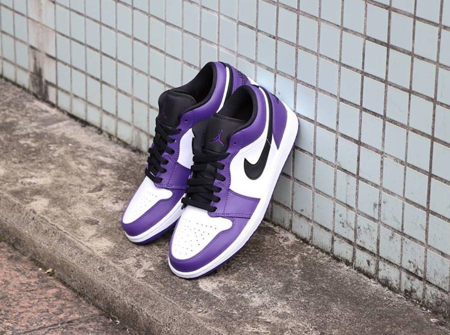 Nike Air Jordan 1 basse 2020 blanche noire et violet (2)