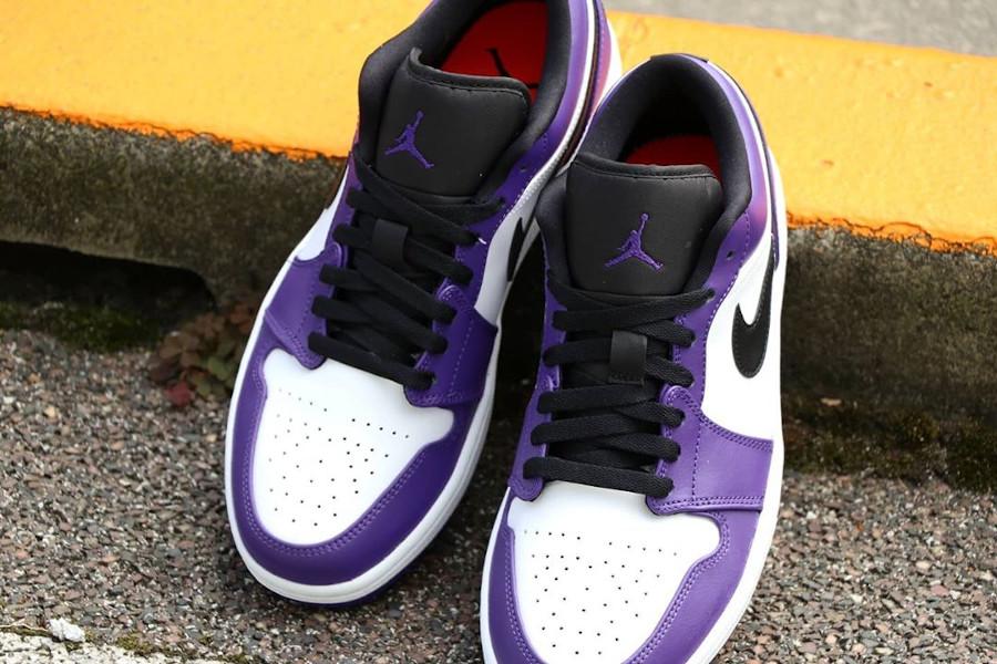 Nike Air Jordan 1 basse 2020 blanche noire et violet (4)