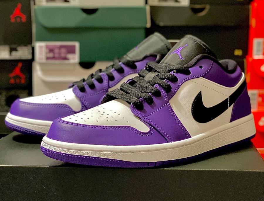 Nike Air Jordan 1 basse 2020 blanche noire et violet (5)