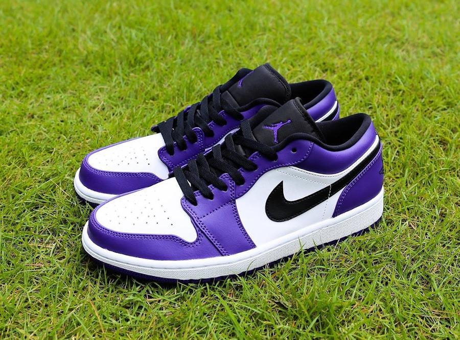 Nike Air Jordan 1 basse 2020 blanche noire et violet (7)