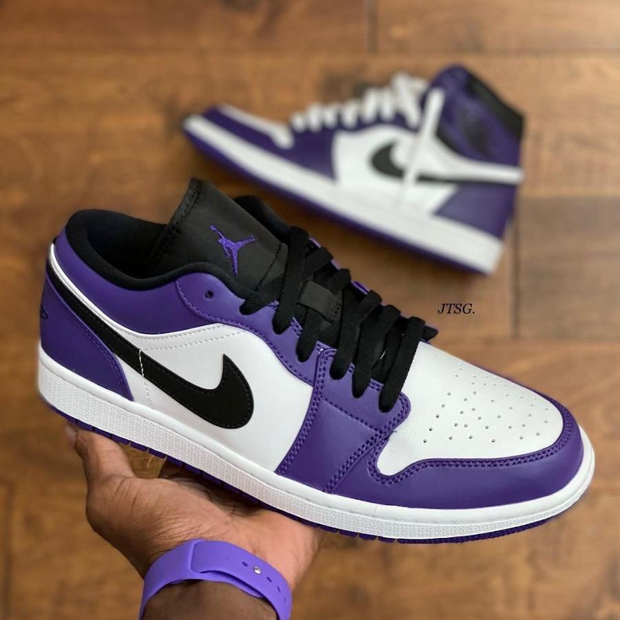 Nike Air Jordan 1 basse 2020 blanche noire et violet (8)