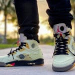 Off White x Air Jordan V Retro 'Sail' Fire Red