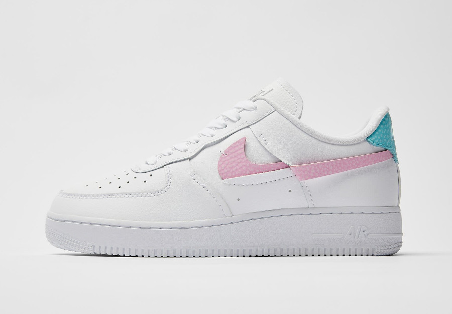 Women's Nike Air Force One Vandalized blanche rose et bleu turquoise (4)