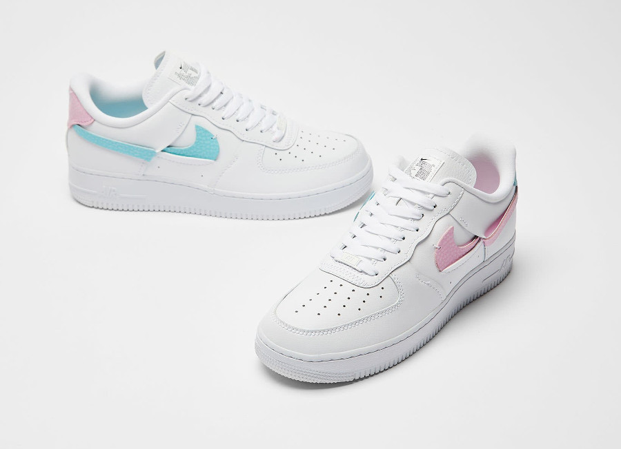 Women's Nike Air Force One Vandalized blanche rose et bleu turquoise (5)