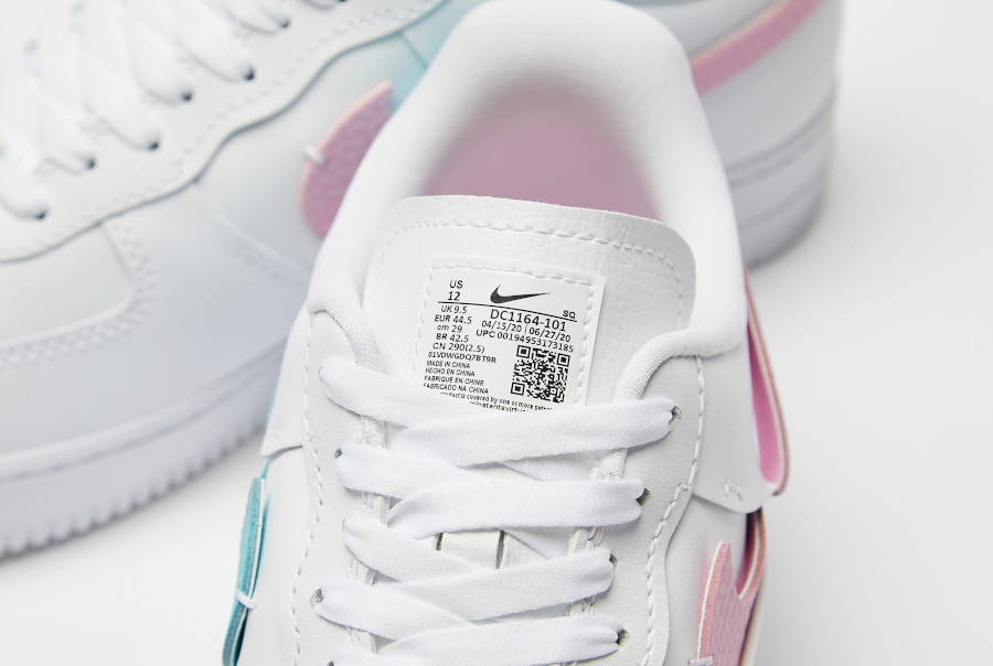Women's Nike Air Force One Vandalized blanche rose et bleu turquoise (6)