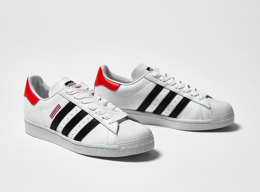 Adidas Superstar 80's run d mc blanche noire et rouge (2)