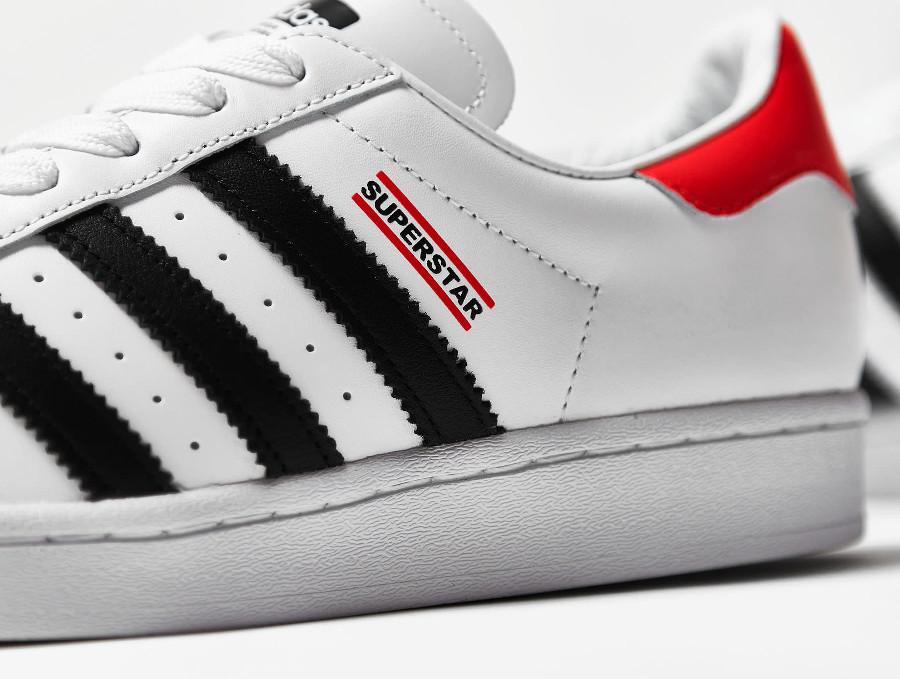 Adidas Superstar 80's run d mc blanche noire et rouge (4)