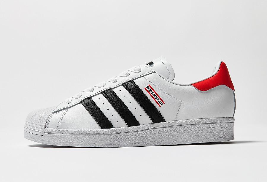 Adidas Superstar 80's run d mc blanche noire et rouge (5)