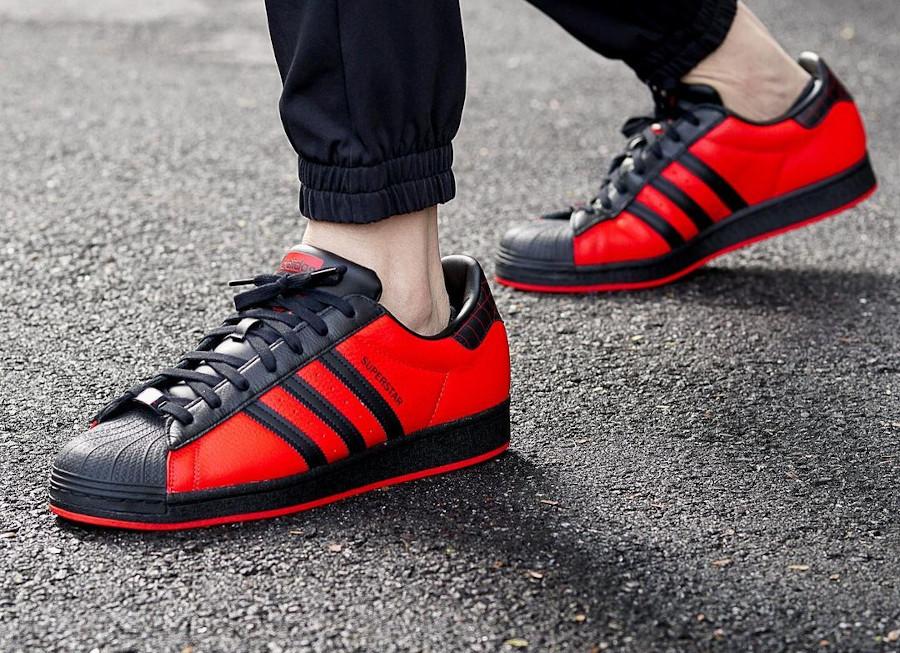 Adidas Superstar Spider Man on feet