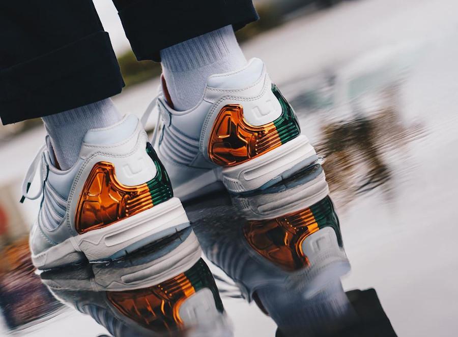 Adidas ZX 5000 AZ-X blanche orange et verte on feet (1)