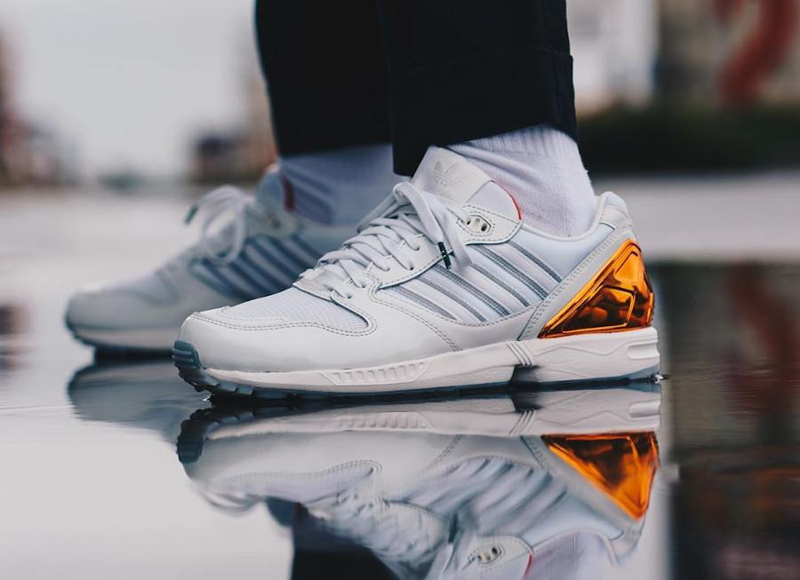 Adidas ZX 5000 AZ-X blanche orange et verte on feet (2)