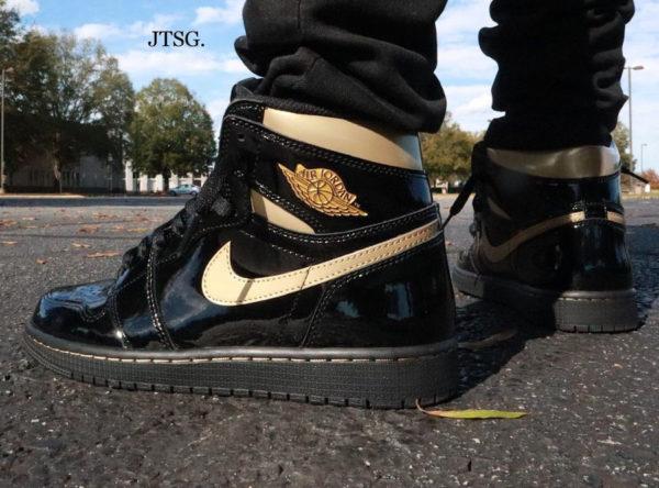 Air Jordan 1 Hi F&F Patent Leather Black Gold 555088-032