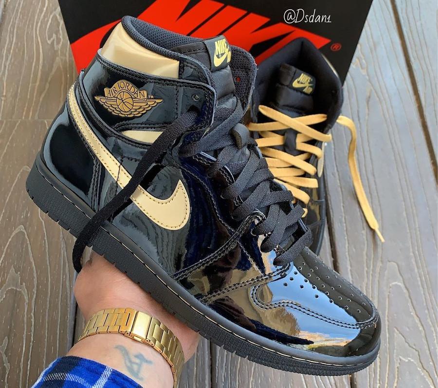 Air Jordan 1 en cuir vernis noir et doré (3)