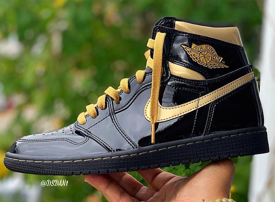 Air Jordan 1 en cuir vernis noir et doré (5)