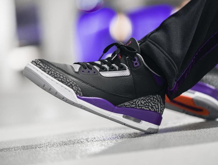 Air Jordan III Retro 2020 noire violet et orange on feet