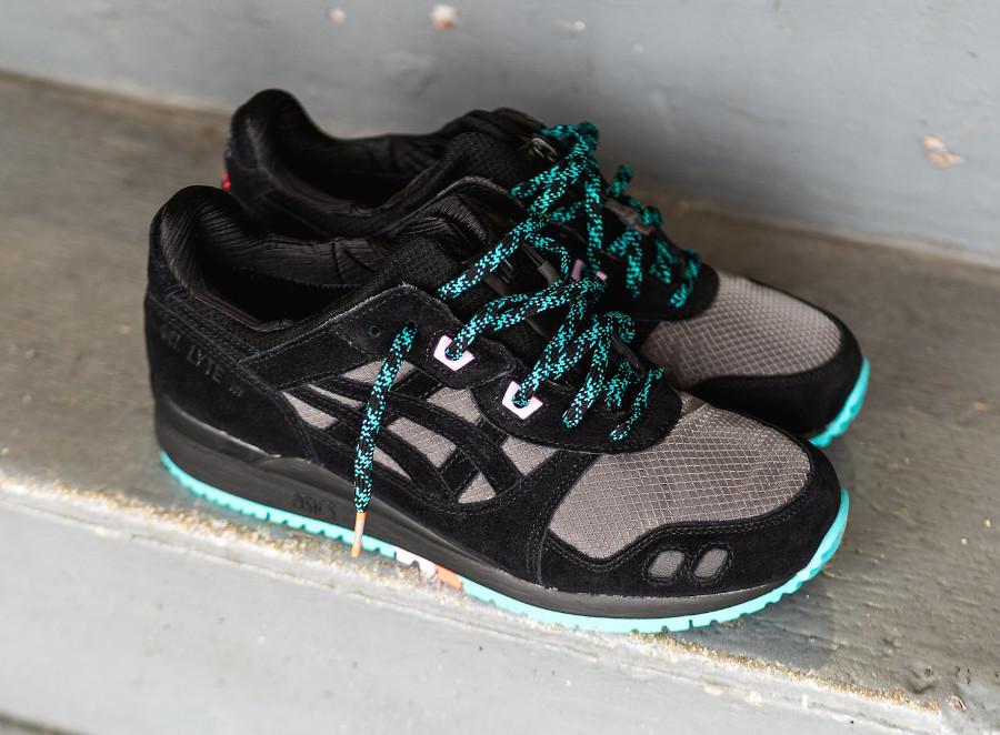 Asics Gel Lyte 3 2020 imperméable noire grise et turquoise (3)