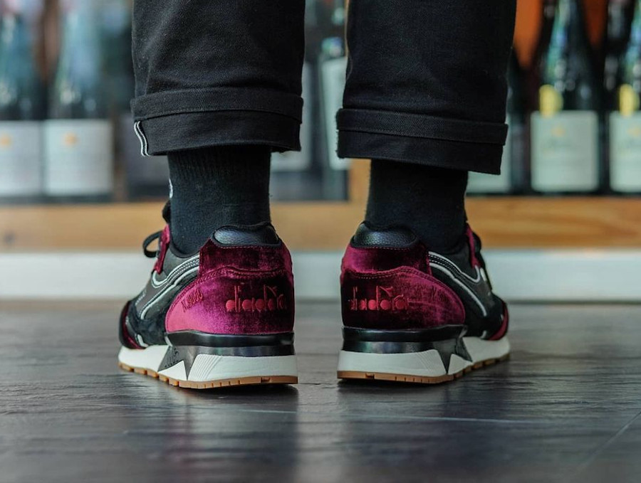 Diadora N9000 en velours vin violet on feet (4)
