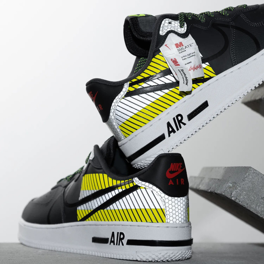 Nike AF1 React LX réfléchissante noire grise et vert fluo (1)