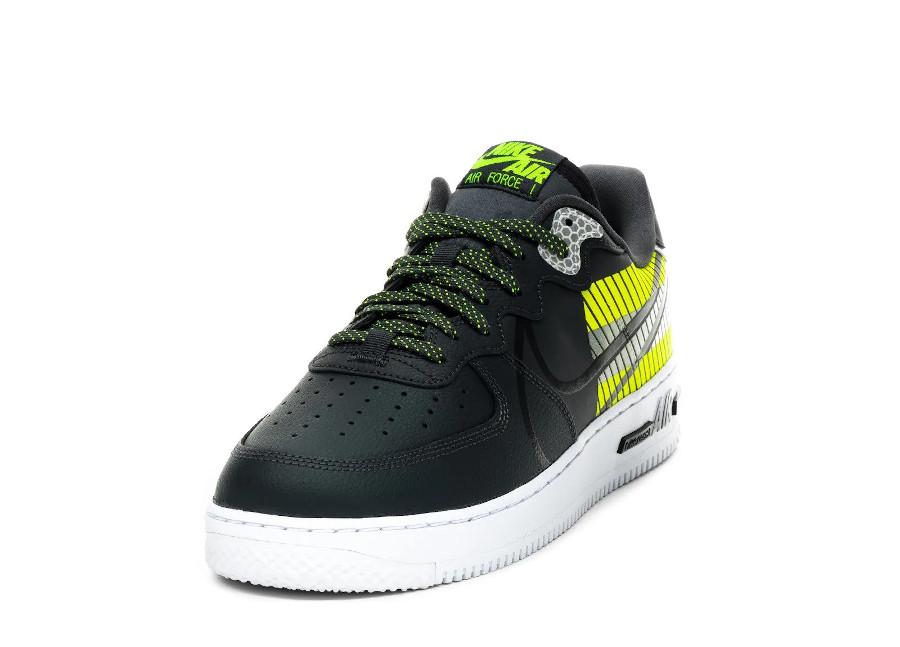 Nike AF1 React LX réfléchissante noire grise et vert fluo (2)