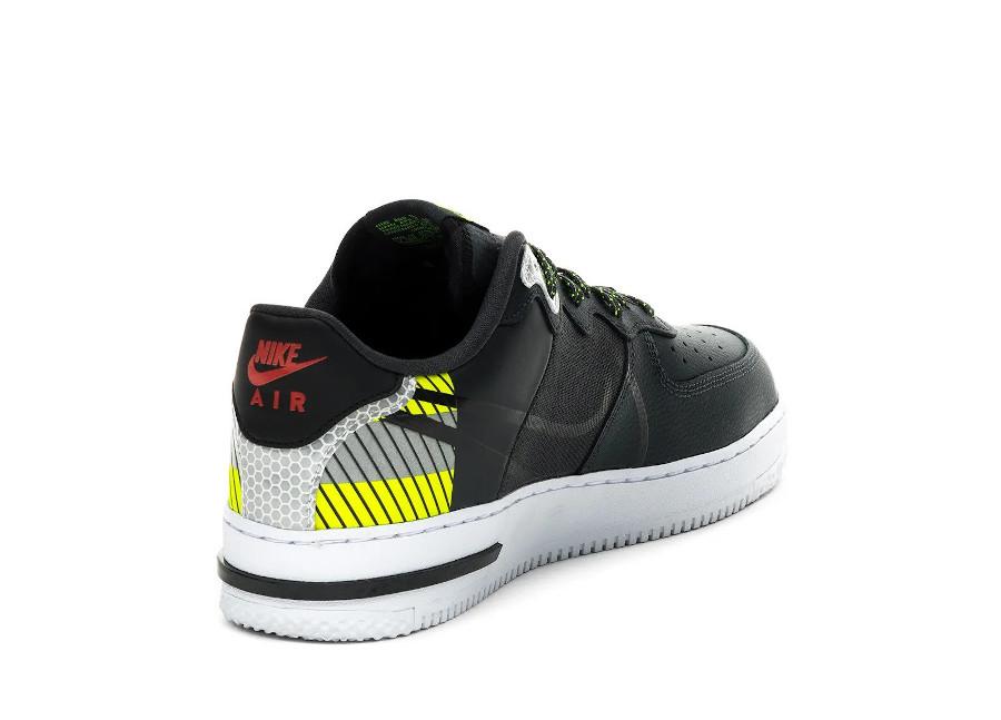 Nike AF1 React LX réfléchissante noire grise et vert fluo (3)