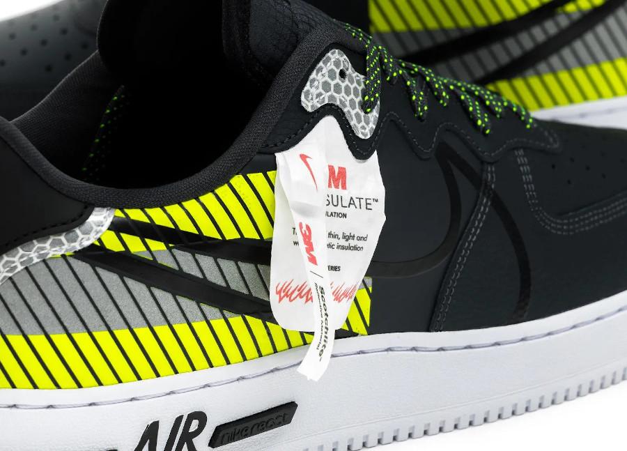 Nike AF1 React LX réfléchissante noire grise et vert fluo (4)